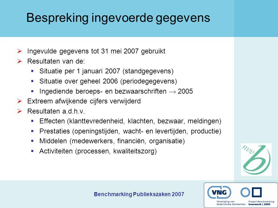 Benchmarking Publiekszaken 2007 Bespreking ingevoerde gegevens  Ingevulde gegevens tot 31 mei 2007 gebruikt  Resultaten van de:  Situatie per 1 jan
