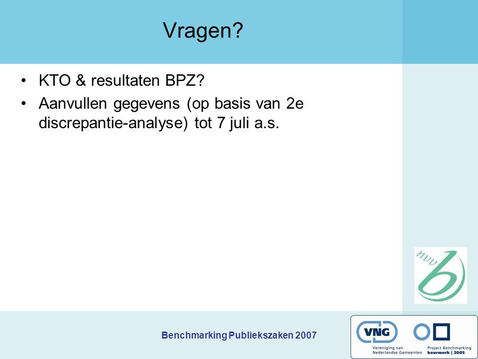 Benchmarking Publiekszaken 2007 Vragen? KTO & resultaten BPZ? Aanvullen gegevens (op basis van 2e discrepantie-analyse) tot 7 juli a.s.