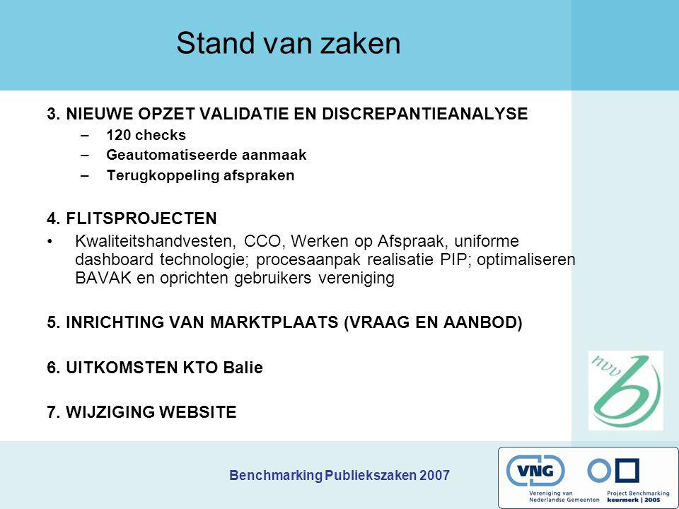 Benchmarking Publiekszaken 2007 Stand van zaken 3. NIEUWE OPZET VALIDATIE EN DISCREPANTIEANALYSE –120 checks –Geautomatiseerde aanmaak –Terugkoppeling