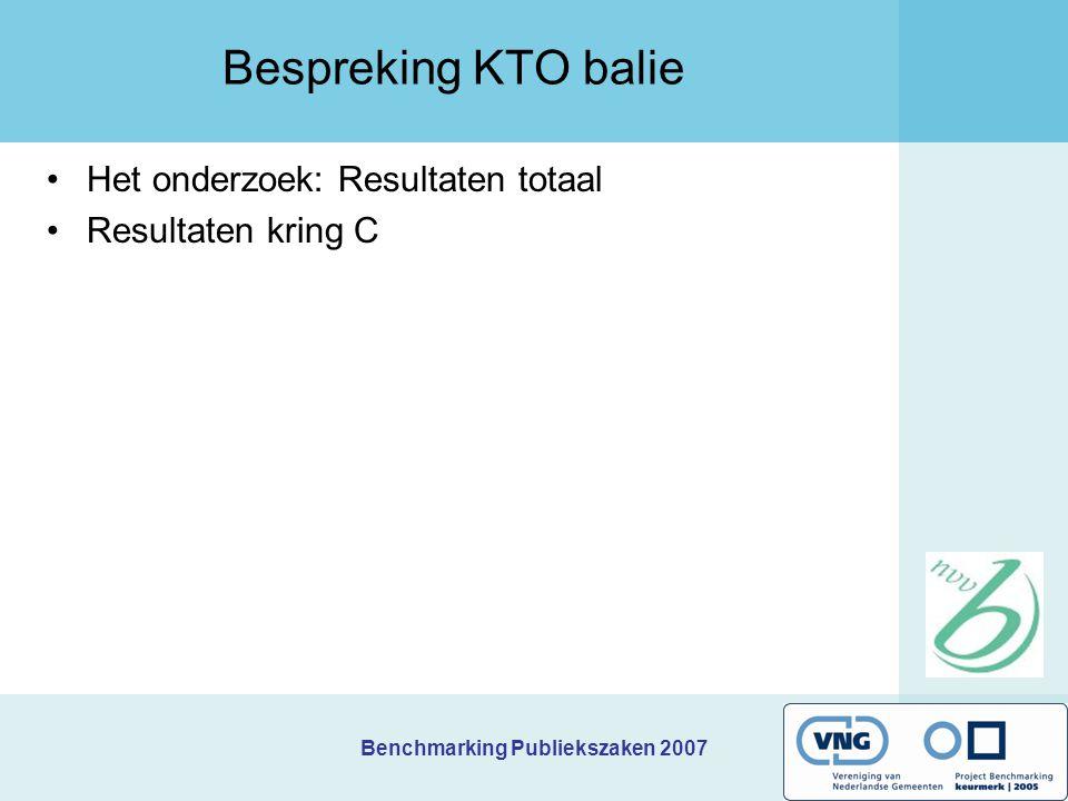 Benchmarking Publiekszaken 2007 Bespreking KTO balie Het onderzoek: Resultaten totaal Resultaten kring C