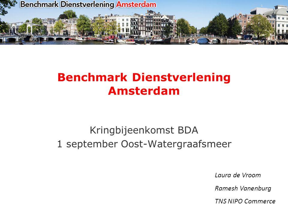 Benchmark Dienstverlening Amsterdam Kringbijeenkomst BDA 1 september Oost-Watergraafsmeer Laura de Vroom Ramesh Vanenburg TNS NIPO Commerce