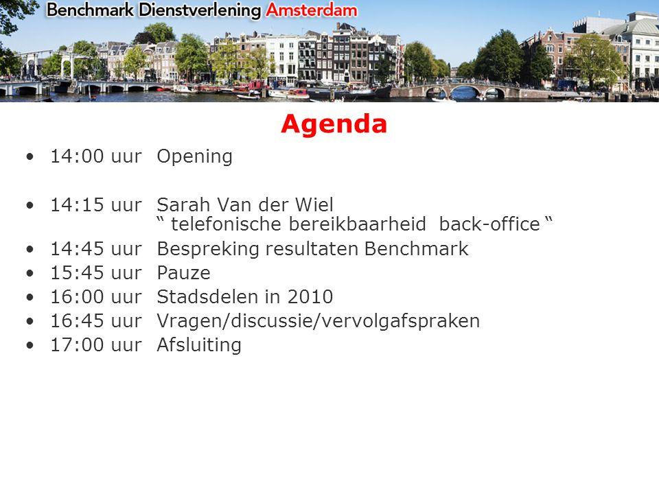 Agenda 14:00 uurOpening 14:15 uurSarah Van der Wiel telefonische bereikbaarheid back-office 14:45 uur Bespreking resultaten Benchmark 15:45 uurPauze 16:00 uurStadsdelen in 2010 16:45 uurVragen/discussie/vervolgafspraken 17:00 uur Afsluiting