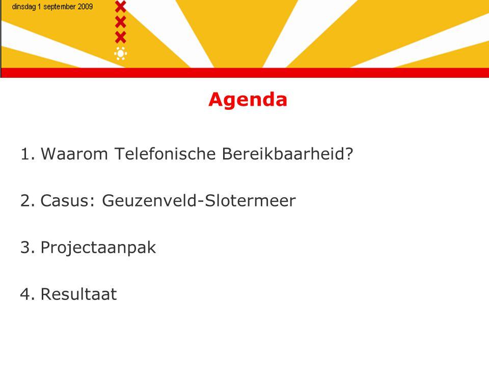 Agenda 1.Waarom Telefonische Bereikbaarheid.