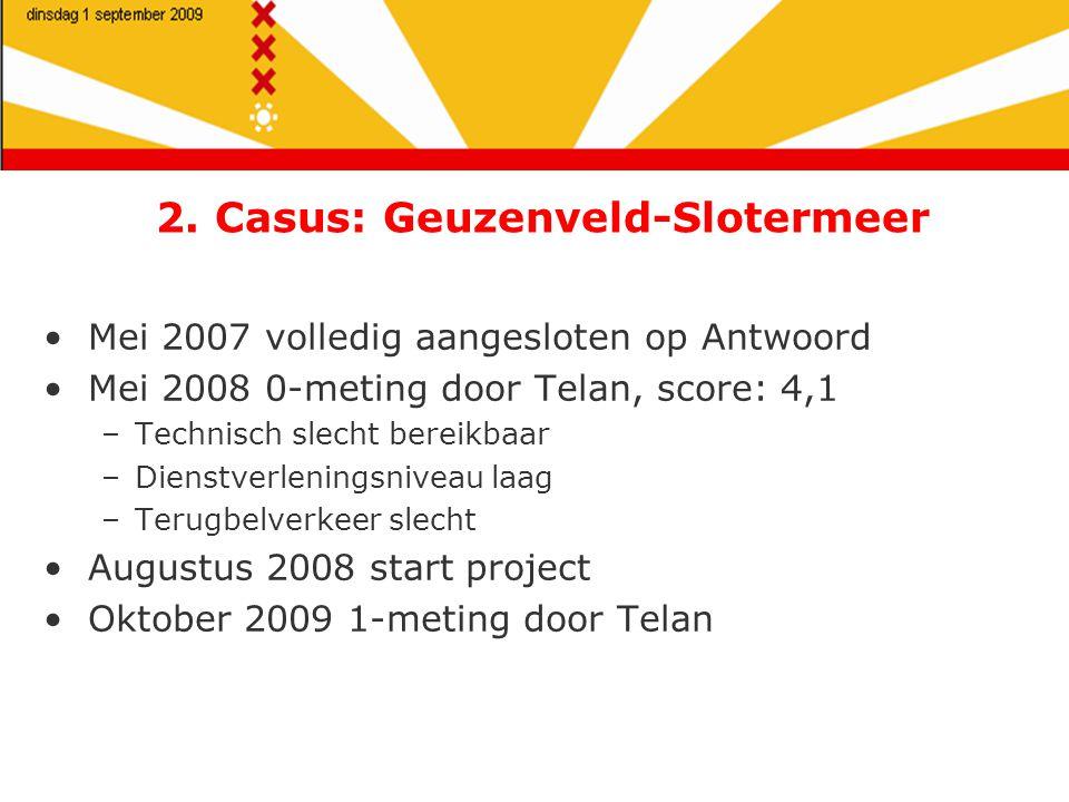 2. Casus: Geuzenveld-Slotermeer Mei 2007 volledig aangesloten op Antwoord Mei 2008 0-meting door Telan, score: 4,1 –Technisch slecht bereikbaar –Diens