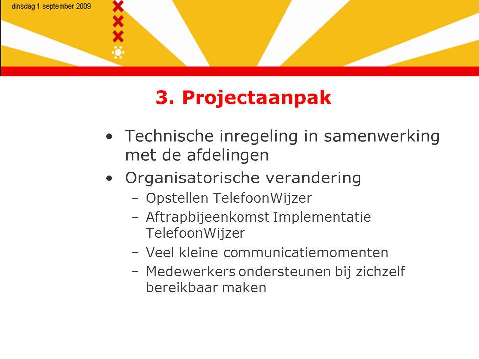 3. Projectaanpak Technische inregeling in samenwerking met de afdelingen Organisatorische verandering –Opstellen TelefoonWijzer –Aftrapbijeenkomst Imp