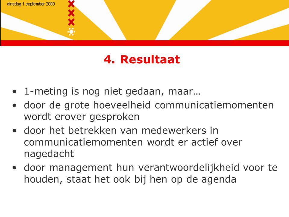 4. Resultaat 1-meting is nog niet gedaan, maar… door de grote hoeveelheid communicatiemomenten wordt erover gesproken door het betrekken van medewerke