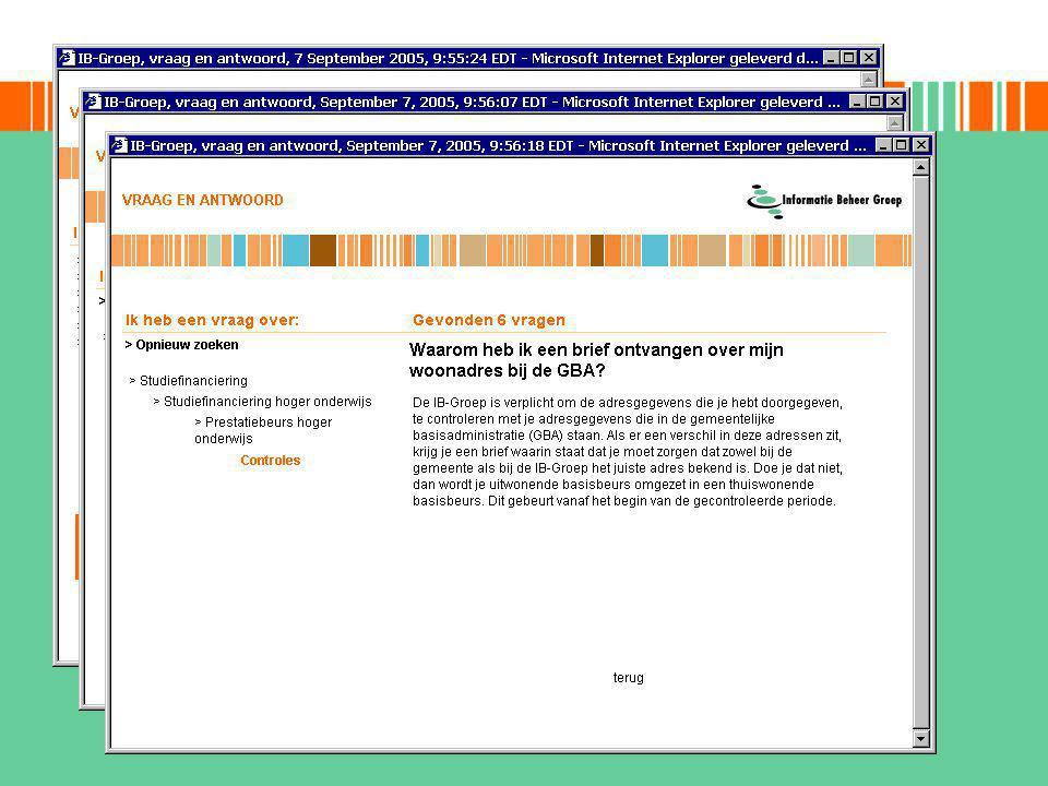 veelgestelde vragen huidige vorm operationeel vanaf juni 2003 -ongeveer 350 antwoorden -automatische top10 -meerdere zoekopties toekomstige ontwikkelingen -nieuwe zoekoptie: natural language search -koppeling met Kana Response