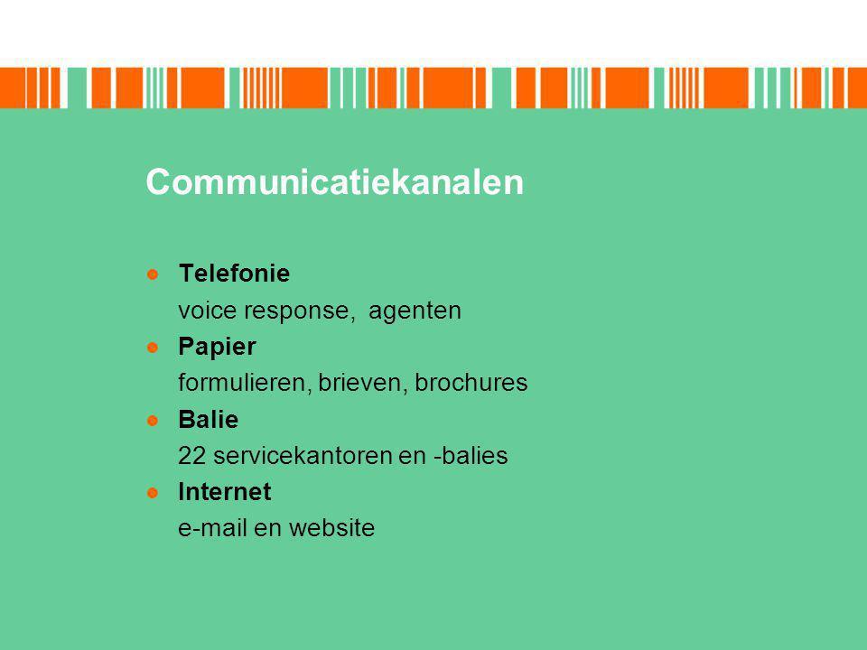 Communicatiekanalen Telefonie voice response, agenten Papier formulieren, brieven, brochures Balie 22 servicekantoren en -balies Internet e-mail en website