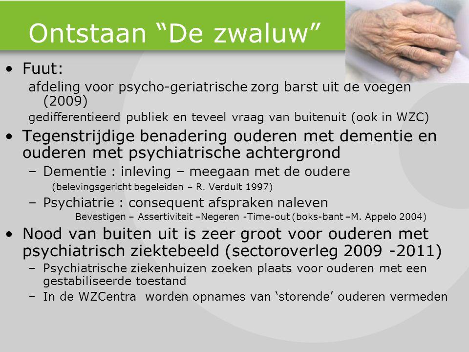 """Ontstaan """"De zwaluw"""" Fuut: afdeling voor psycho-geriatrische zorg barst uit de voegen (2009) gedifferentieerd publiek en teveel vraag van buitenuit (o"""