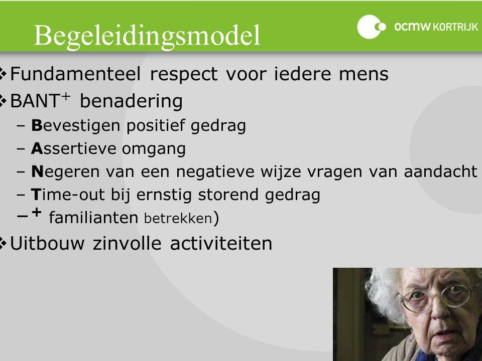 Begeleidingsmodel  Fundamenteel respect voor iedere mens  BANT + benadering –Bevestigen positief gedrag –Assertieve omgang –Negeren van een negatiev