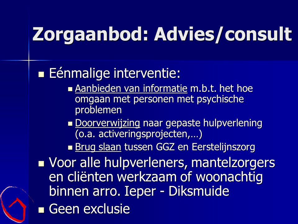 Zorgaanbod: Advies/consult Eénmalige interventie: Eénmalige interventie: Aanbieden van informatie m.b.t. het hoe omgaan met personen met psychische pr