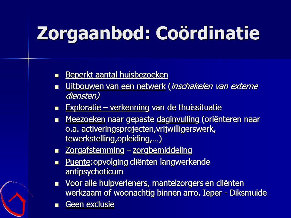 Zorgaanbod: Coördinatie Beperkt aantal huisbezoeken Beperkt aantal huisbezoeken Uitbouwen van een netwerk (inschakelen van externe diensten) Uitbouwen