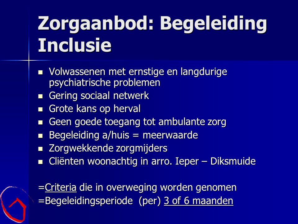 Zorgaanbod: Begeleiding Inclusie Volwassenen met ernstige en langdurige psychiatrische problemen Volwassenen met ernstige en langdurige psychiatrische