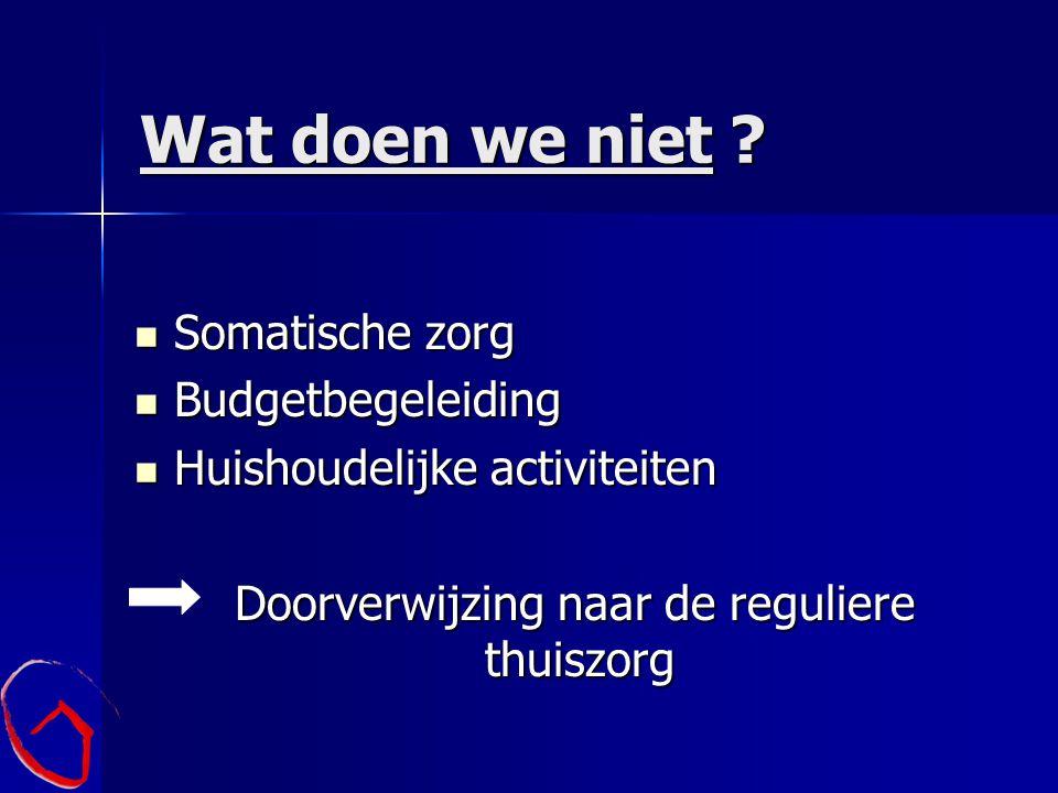 Wat doen we niet ? Somatische zorg Somatische zorg Budgetbegeleiding Budgetbegeleiding Huishoudelijke activiteiten Huishoudelijke activiteiten Doorver