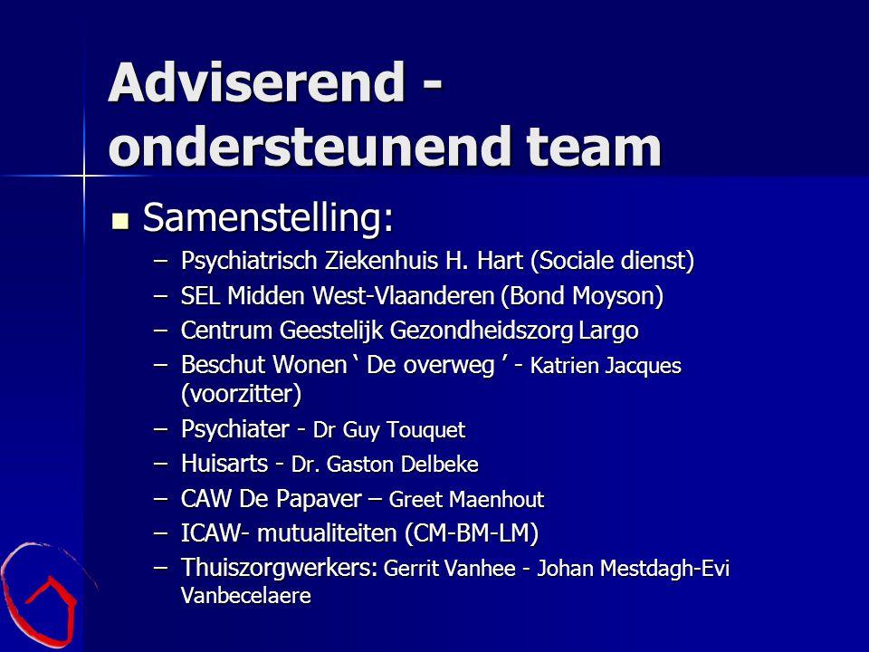 Adviserend - ondersteunend team Samenstelling: Samenstelling: –Psychiatrisch Ziekenhuis H. Hart (Sociale dienst) –SEL Midden West-Vlaanderen (Bond Moy