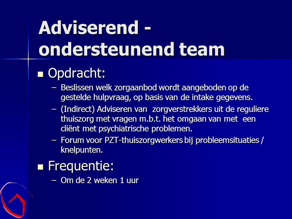 Adviserend - ondersteunend team Opdracht: Opdracht: –Beslissen welk zorgaanbod wordt aangeboden op de gestelde hulpvraag, op basis van de intake gegev