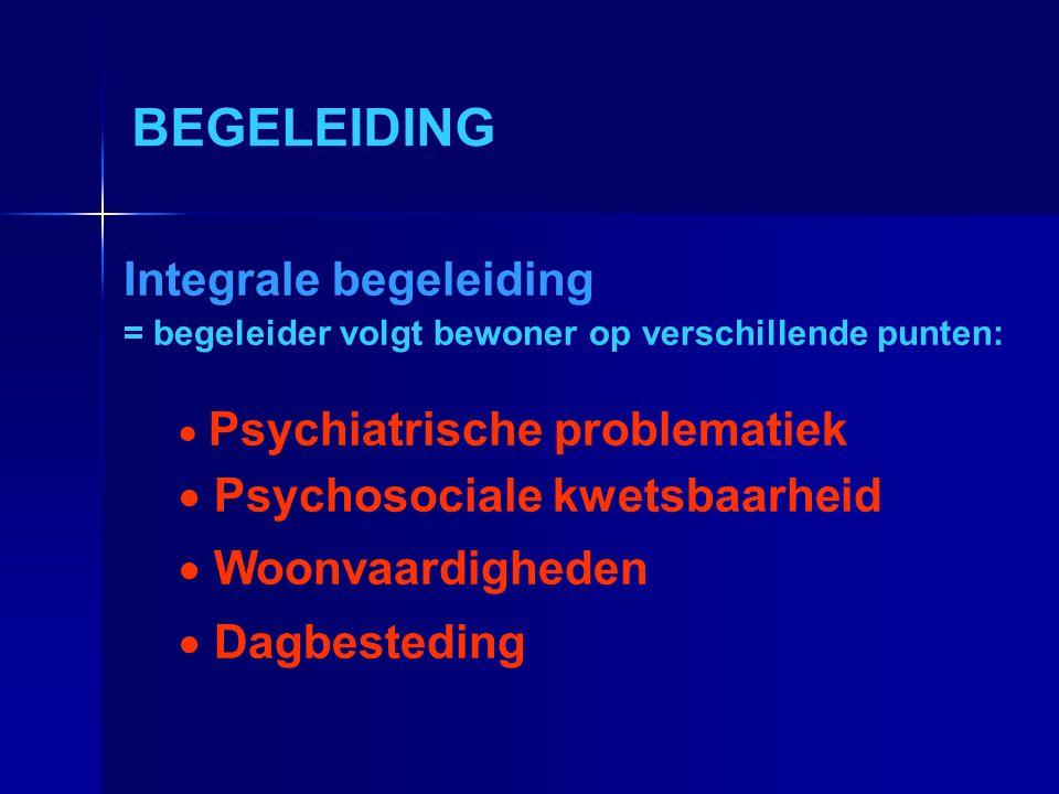 BEGELEIDING Integrale begeleiding = begeleider volgt bewoner op verschillende punten:  Psychiatrische problematiek  Psychosociale kwetsbaarheid  Wo
