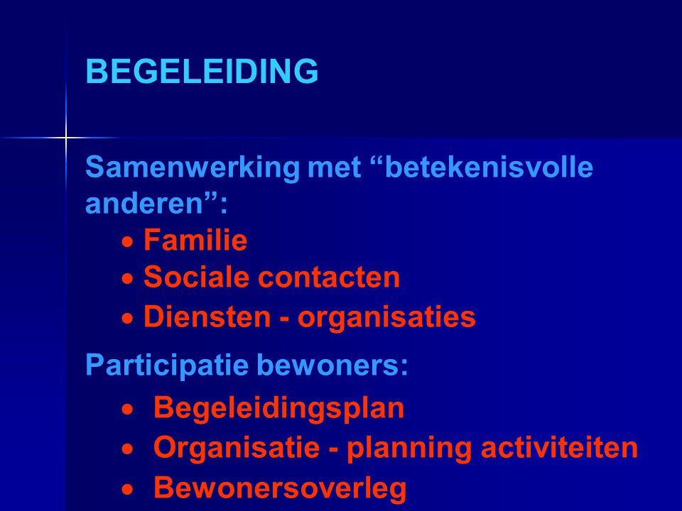 """BEGELEIDING Samenwerking met """"betekenisvolle anderen"""":  Familie  Sociale contacten  Diensten - organisaties Participatie bewoners:  Begeleidingspl"""