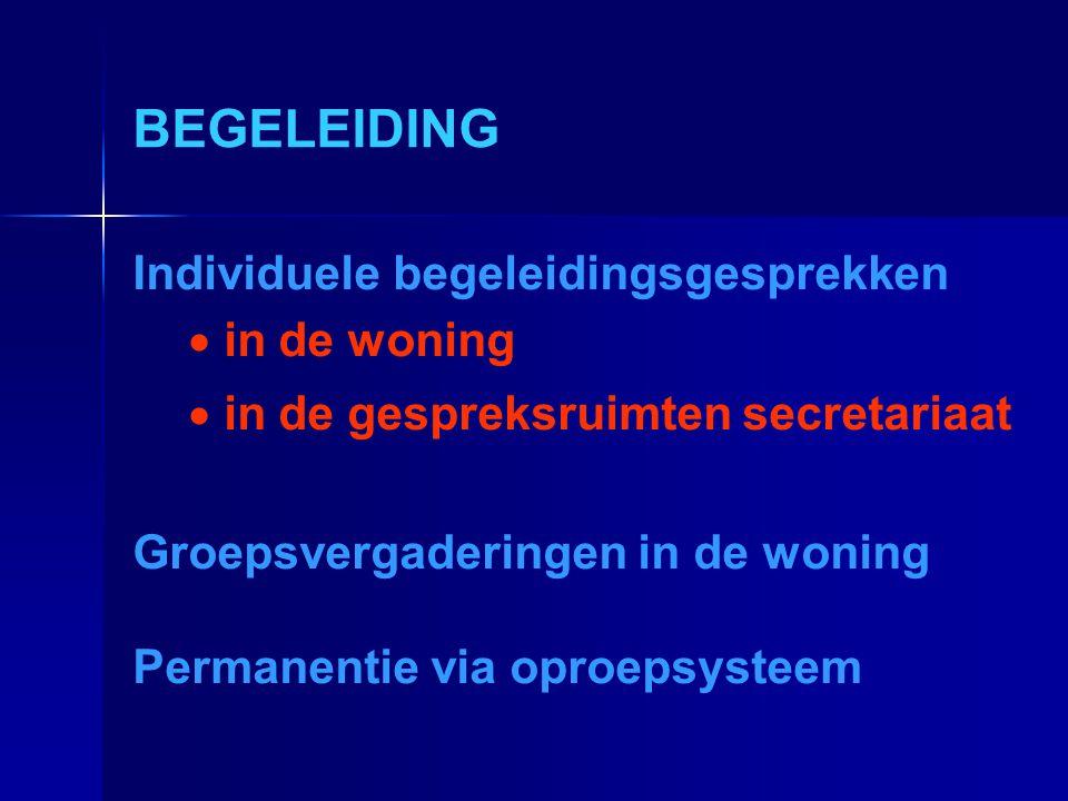 BEGELEIDING Individuele begeleidingsgesprekken  in de woning  in de gespreksruimten secretariaat Groepsvergaderingen in de woning Permanentie via op