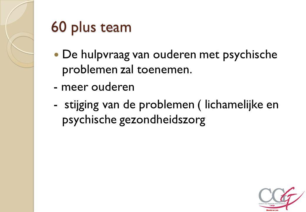 60 plus team De hulpvraag van ouderen met psychische problemen zal toenemen. - meer ouderen - stijging van de problemen ( lichamelijke en psychische g