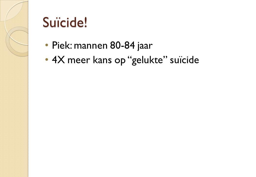 """Suïcide! Piek: mannen 80-84 jaar 4X meer kans op """"gelukte"""" suïcide"""