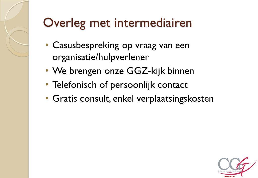Overleg met intermediairen Casusbespreking op vraag van een organisatie/hulpverlener We brengen onze GGZ-kijk binnen Telefonisch of persoonlijk contac