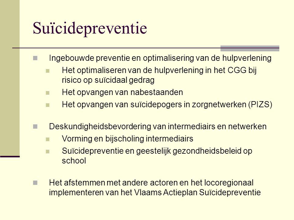 Suïcidepreventie Ingebouwde preventie en optimalisering van de hulpverlening Het optimaliseren van de hulpverlening in het CGG bij risico op suïcidaal