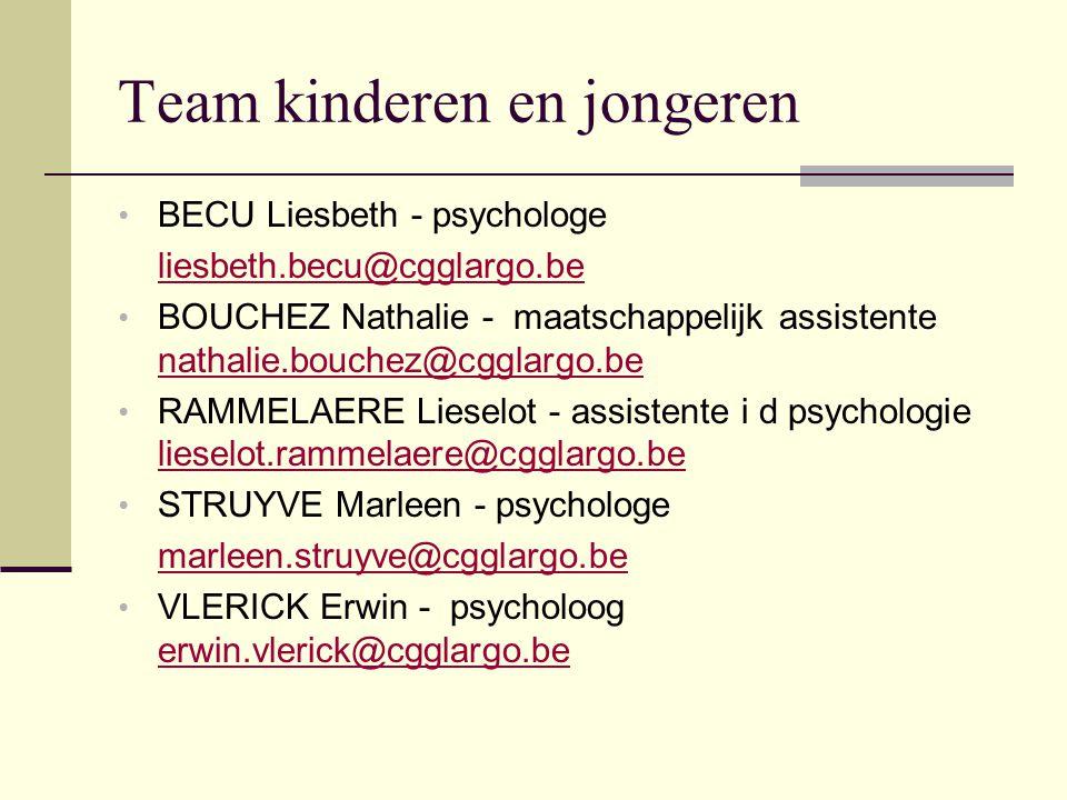 Team kinderen en jongeren BECU Liesbeth - psychologe liesbeth.becu@cgglargo.be BOUCHEZ Nathalie - maatschappelijk assistente nathalie.bouchez@cgglargo.be nathalie.bouchez@cgglargo.be RAMMELAERE Lieselot - assistente i d psychologie lieselot.rammelaere@cgglargo.be lieselot.rammelaere@cgglargo.be STRUYVE Marleen - psychologe marleen.struyve@cgglargo.be VLERICK Erwin - psycholoog erwin.vlerick@cgglargo.be erwin.vlerick@cgglargo.be