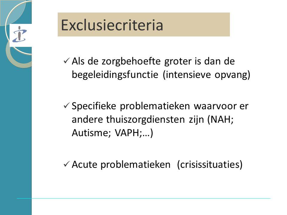 Exclusiecriteria Als de zorgbehoefte groter is dan de begeleidingsfunctie (intensieve opvang) Specifieke problematieken waarvoor er andere thuiszorgdiensten zijn (NAH; Autisme; VAPH;…) Acute problematieken (crisissituaties) Exclusiecriteria