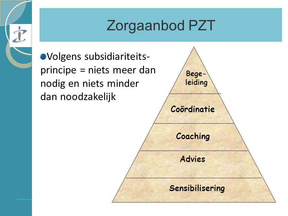 Zorgaanbod PZT Bege- leiding Coördinatie Coaching Advies Sensibilisering Volgens subsidiariteits- principe = niets meer dan nodig en niets minder dan noodzakelijk