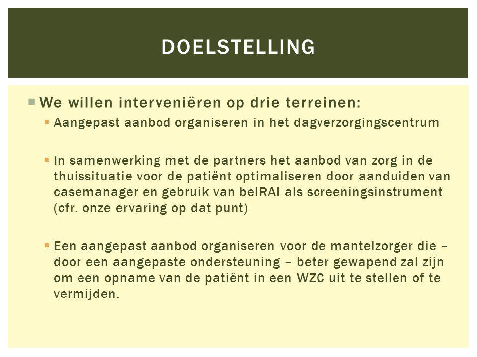  Voor elk van de geïncludeerde patiënten wordt de meest geschikte casemanager aangeduid  De administratieve coördinatie gebeurt vanuit het CDV Huize Ter Walle