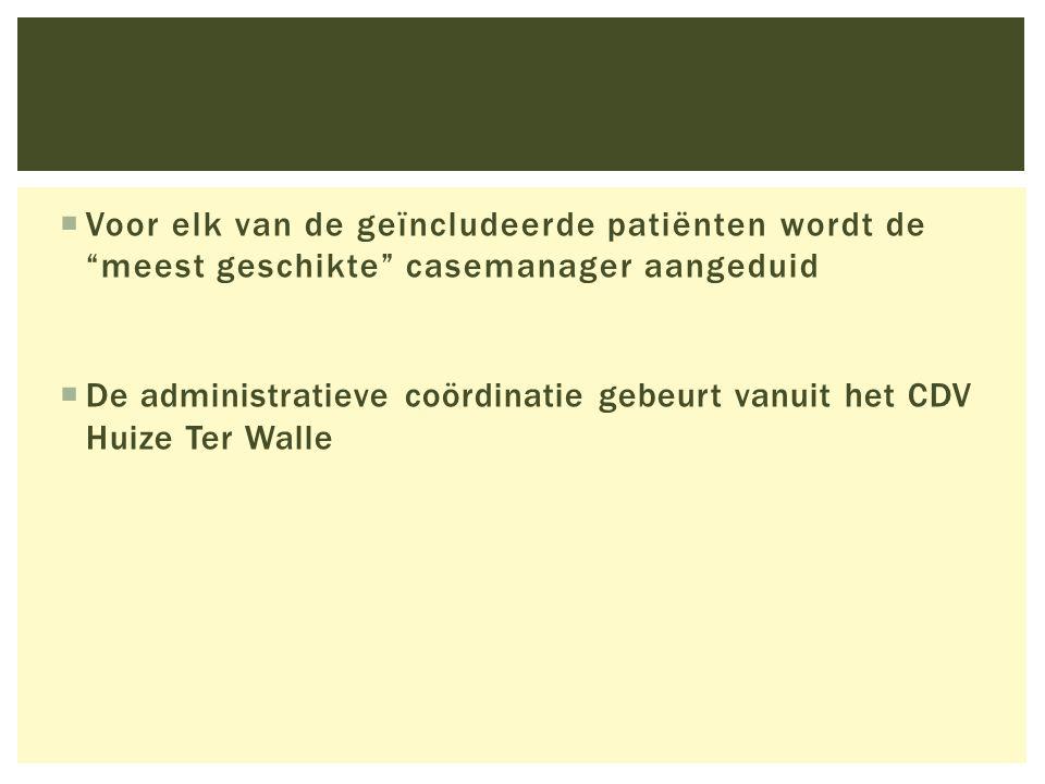 """ Voor elk van de geïncludeerde patiënten wordt de """"meest geschikte"""" casemanager aangeduid  De administratieve coördinatie gebeurt vanuit het CDV Hui"""