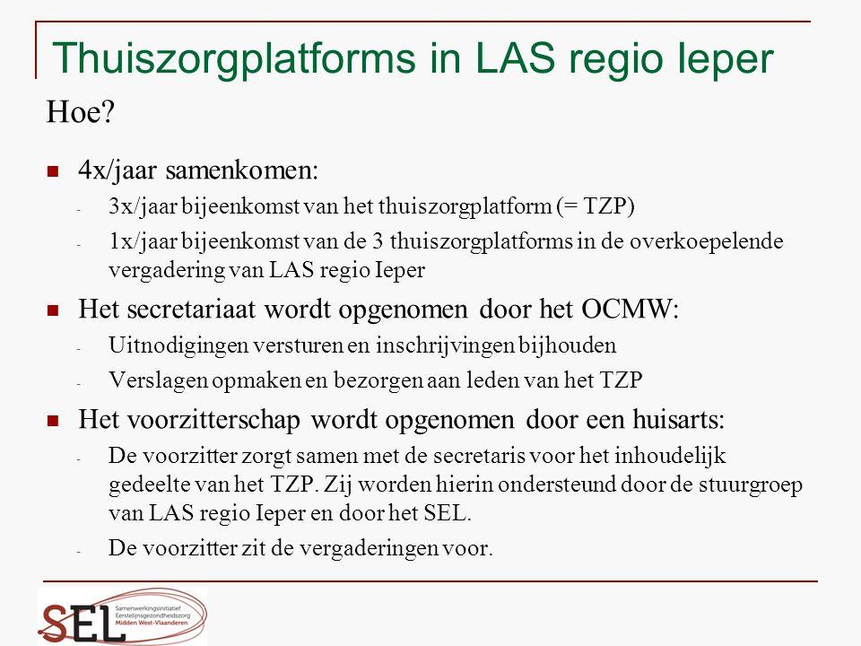 Thuiszorgplatforms in LAS regio Ieper Hoe? 4x/jaar samenkomen: - 3x/jaar bijeenkomst van het thuiszorgplatform (= TZP) - 1x/jaar bijeenkomst van de 3