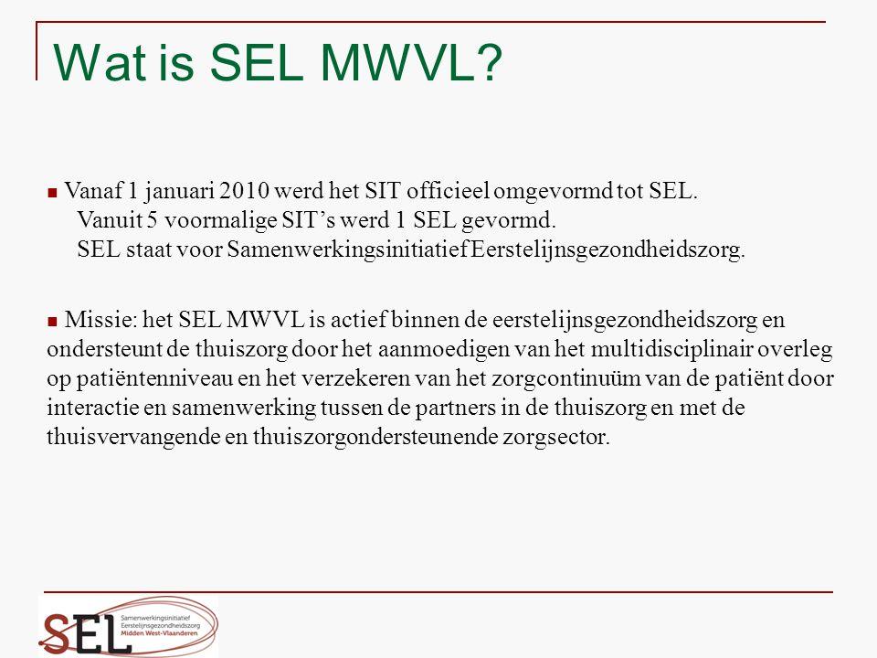 Wat is SEL MWVL? Vanaf 1 januari 2010 werd het SIT officieel omgevormd tot SEL. Vanuit 5 voormalige SIT's werd 1 SEL gevormd. SEL staat voor Samenwerk