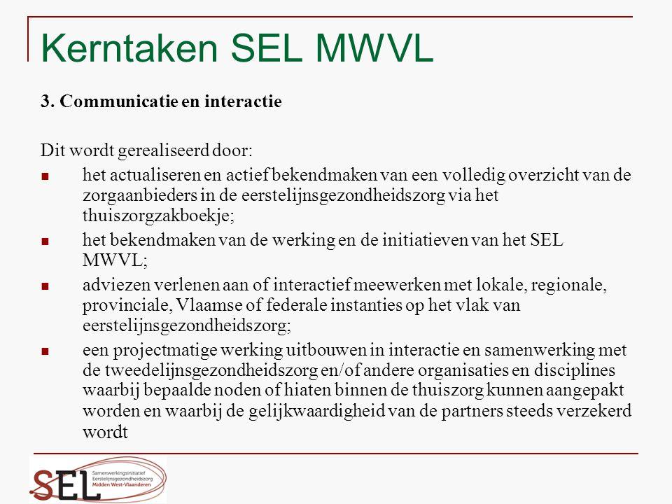 Kerntaken SEL MWVL 3. Communicatie en interactie Dit wordt gerealiseerd door: het actualiseren en actief bekendmaken van een volledig overzicht van de