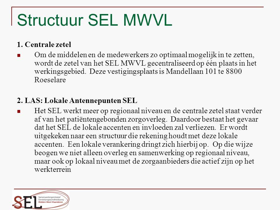 Structuur SEL MWVL 1. Centrale zetel Om de middelen en de medewerkers zo optimaal mogelijk in te zetten, wordt de zetel van het SEL MWVL gecentralisee