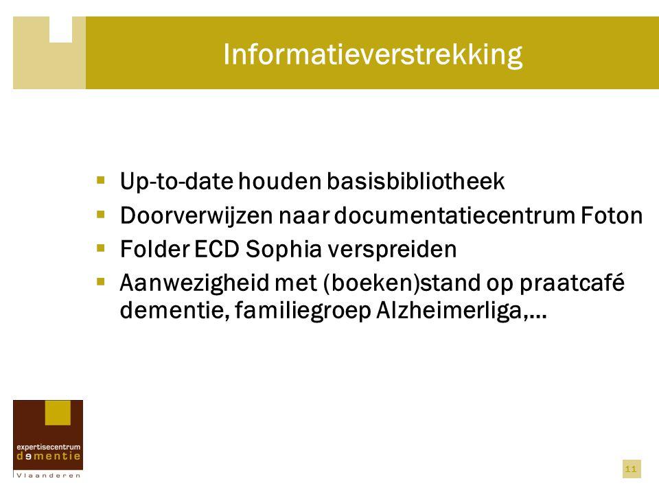 11 Informatieverstrekking  Up-to-date houden basisbibliotheek  Doorverwijzen naar documentatiecentrum Foton  Folder ECD Sophia verspreiden  Aanwezigheid met (boeken)stand op praatcafé dementie, familiegroep Alzheimerliga,…