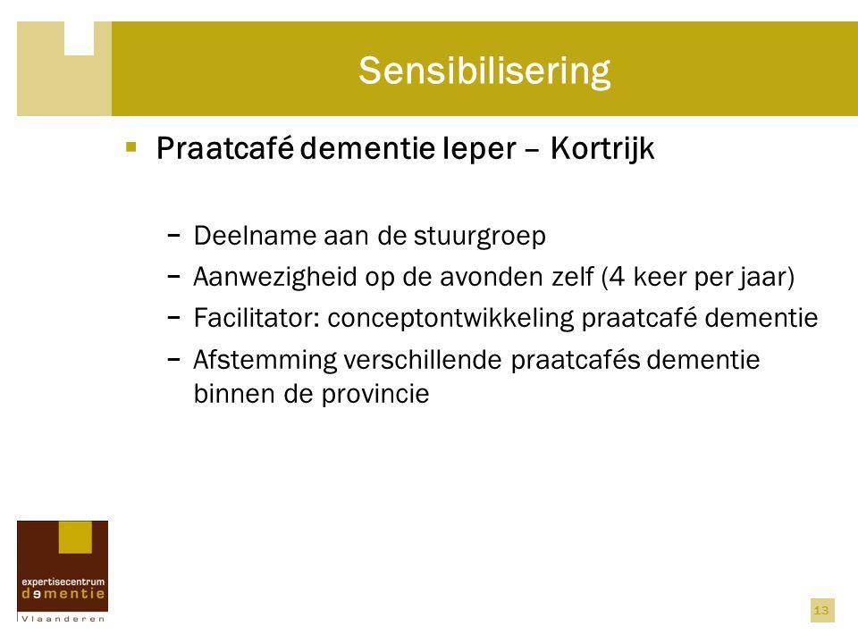 13 Sensibilisering  Praatcafé dementie Ieper – Kortrijk − Deelname aan de stuurgroep − Aanwezigheid op de avonden zelf (4 keer per jaar) − Facilitato