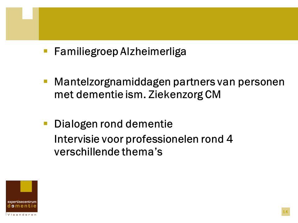 14  Familiegroep Alzheimerliga  Mantelzorgnamiddagen partners van personen met dementie ism. Ziekenzorg CM  Dialogen rond dementie Intervisie voor