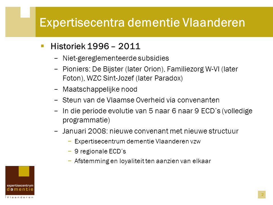 2 Expertisecentra dementie Vlaanderen  Historiek 1996 – 2011 − Niet-gereglementeerde subsidies − Pioniers: De Bijster (later Orion), Familiezorg W-Vl (later Foton), WZC Sint-Jozef (later Paradox) − Maatschappelijke nood − Steun van de Vlaamse Overheid via convenanten − In die periode evolutie van 5 naar 6 naar 9 ECD's (volledige programmatie) − Januari 2008: nieuwe convenant met nieuwe structuur − Expertisecentrum dementie Vlaanderen vzw − 9 regionale ECD's − Afstemming en loyaliteit ten aanzien van elkaar