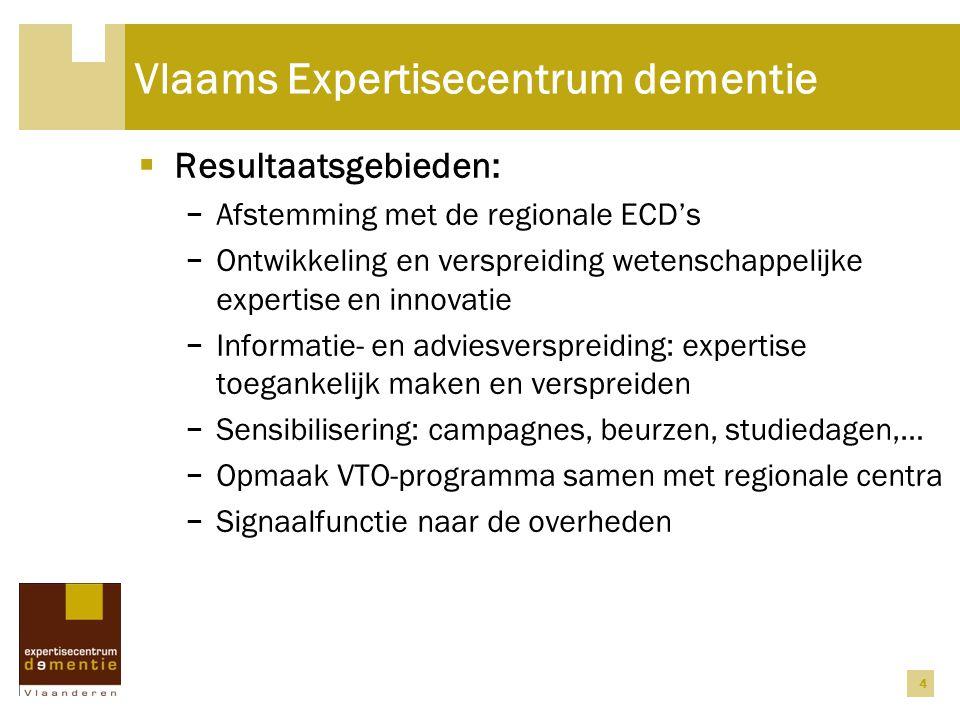 4 Vlaams Expertisecentrum dementie  Resultaatsgebieden: − Afstemming met de regionale ECD's − Ontwikkeling en verspreiding wetenschappelijke expertis