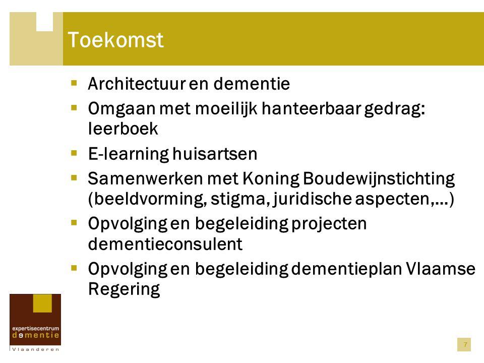 Toekomst  Architectuur en dementie  Omgaan met moeilijk hanteerbaar gedrag: leerboek  E-learning huisartsen  Samenwerken met Koning Boudewijnstich