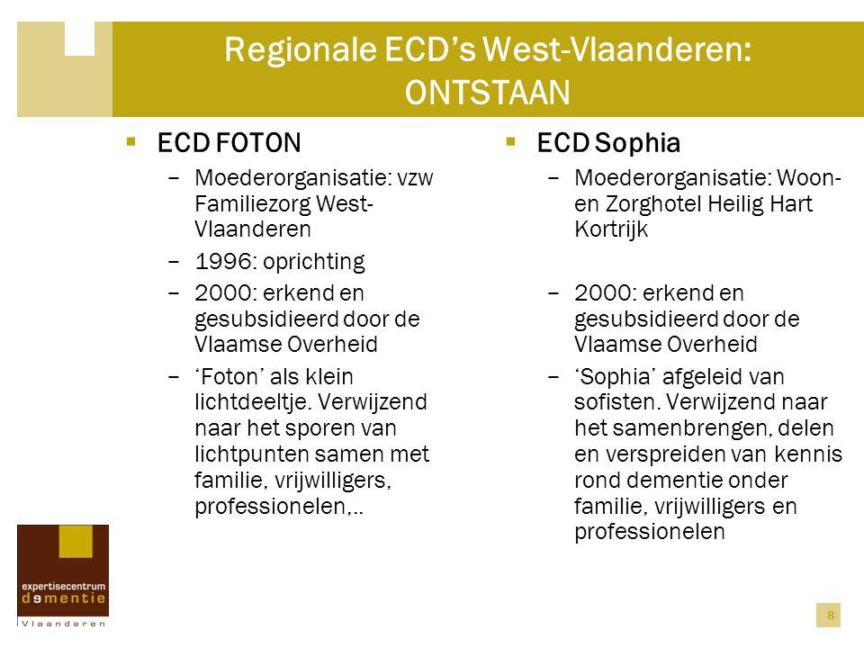 8 Regionale ECD's West-Vlaanderen: ONTSTAAN  ECD FOTON − Moederorganisatie: vzw Familiezorg West- Vlaanderen − 1996: oprichting − 2000: erkend en ges
