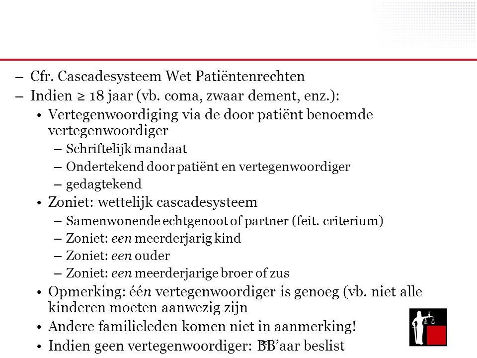 20 – Cfr. Cascadesysteem Wet Patiëntenrechten – Indien ≥ 18 jaar (vb. coma, zwaar dement, enz.): Vertegenwoordiging via de door patiënt benoemde verte