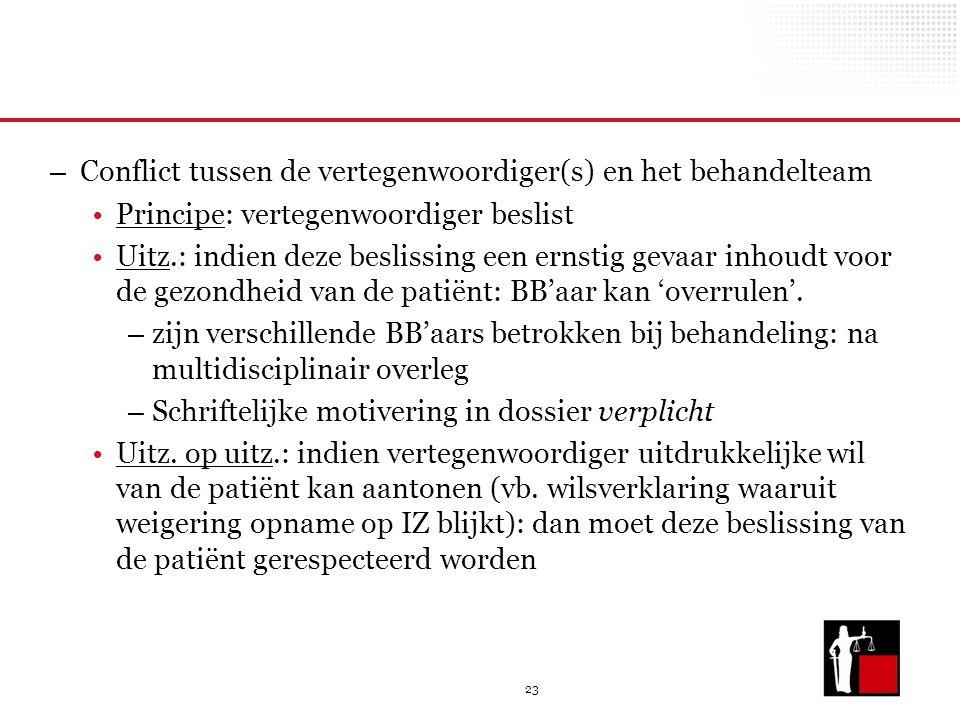 23 – Conflict tussen de vertegenwoordiger(s) en het behandelteam Principe: vertegenwoordiger beslist Uitz.: indien deze beslissing een ernstig gevaar inhoudt voor de gezondheid van de patiënt: BB'aar kan 'overrulen'.