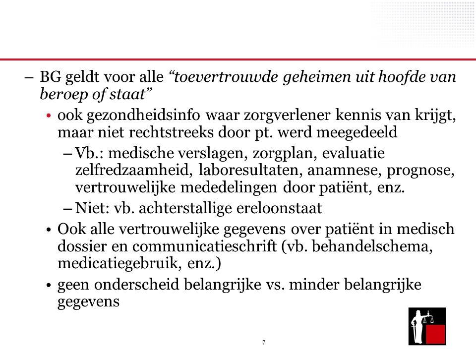 7 – BG geldt voor alle toevertrouwde geheimen uit hoofde van beroep of staat ook gezondheidsinfo waar zorgverlener kennis van krijgt, maar niet rechtstreeks door pt.
