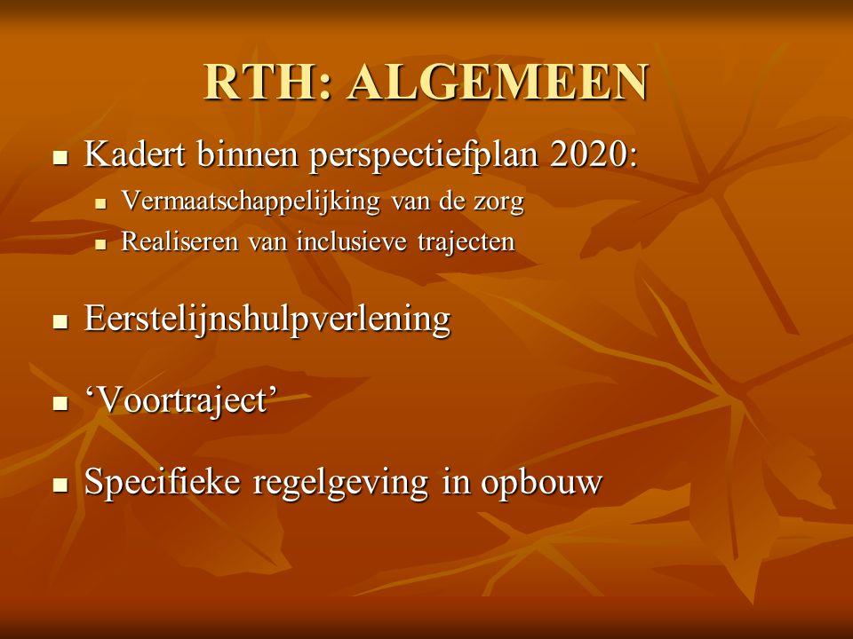 RTH: ALGEMEEN Kadert binnen perspectiefplan 2020: Kadert binnen perspectiefplan 2020: Vermaatschappelijking van de zorg Vermaatschappelijking van de z