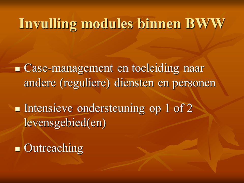 Invulling modules binnen BWW Case-management en toeleiding naar andere (reguliere) diensten en personen Case-management en toeleiding naar andere (reg