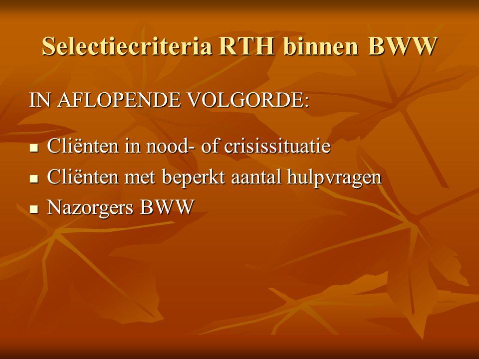 Selectiecriteria RTH binnen BWW IN AFLOPENDE VOLGORDE: Cliënten in nood- of crisissituatie Cliënten in nood- of crisissituatie Cliënten met beperkt aa