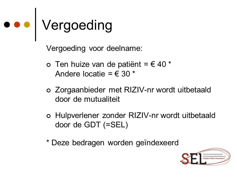 Vergoeding Vergoeding voor deelname: Ten huize van de patiënt = € 40 * Andere locatie = € 30 * Zorgaanbieder met RIZIV-nr wordt uitbetaald door de mut